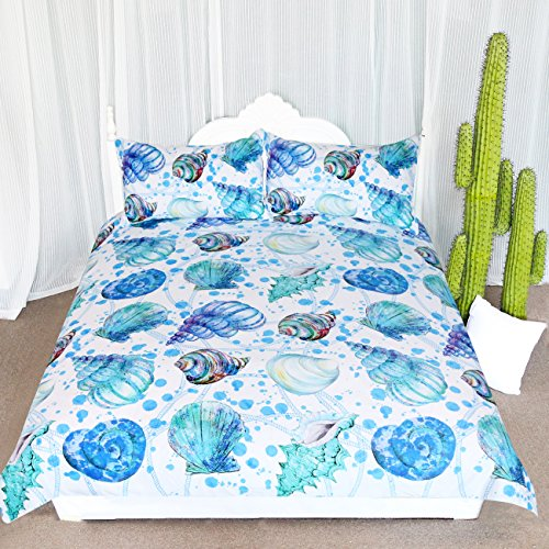 ARIGHTEX Indigo Ocean Seashells Bed Cover Set Aqua Spiral Turquoise Conch Shell Bedspread Coastal Theme Bedding (Twin)