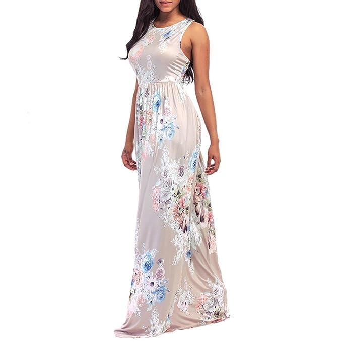 Kleid Damen Mumuj Sexy Blumendruck Rundhalsausschnitt Langes Kleid ...