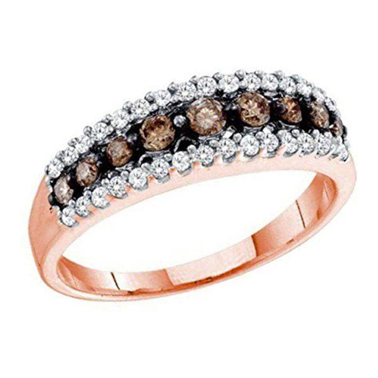 0.5 cttw 14k Rose Gold Cognac Brown Diamond Wedding Anniversary Band Ring, 6mm
