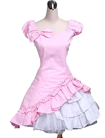 antaina Pink Cotton Ruffle Bow Lace Classic Retro Victorian Lolita Cosplay Dress,XXL