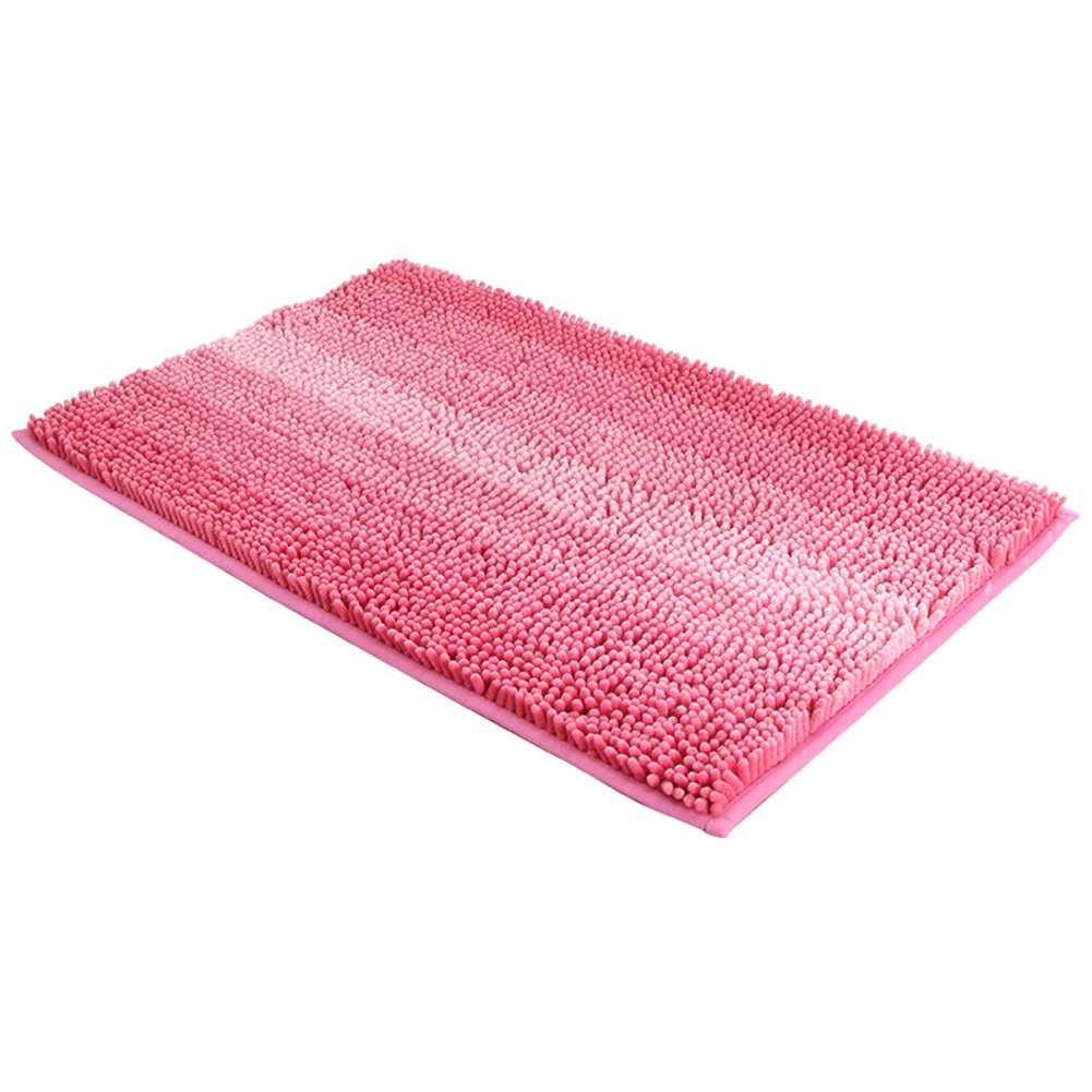 Chenille color non-slip bathroom rug mat,Shower rug mat water absorbent fast drying for kitchen Bedroom Living room Hotel Spa tub Sofa slipcover-Pink 50x80cm(20x31inch)