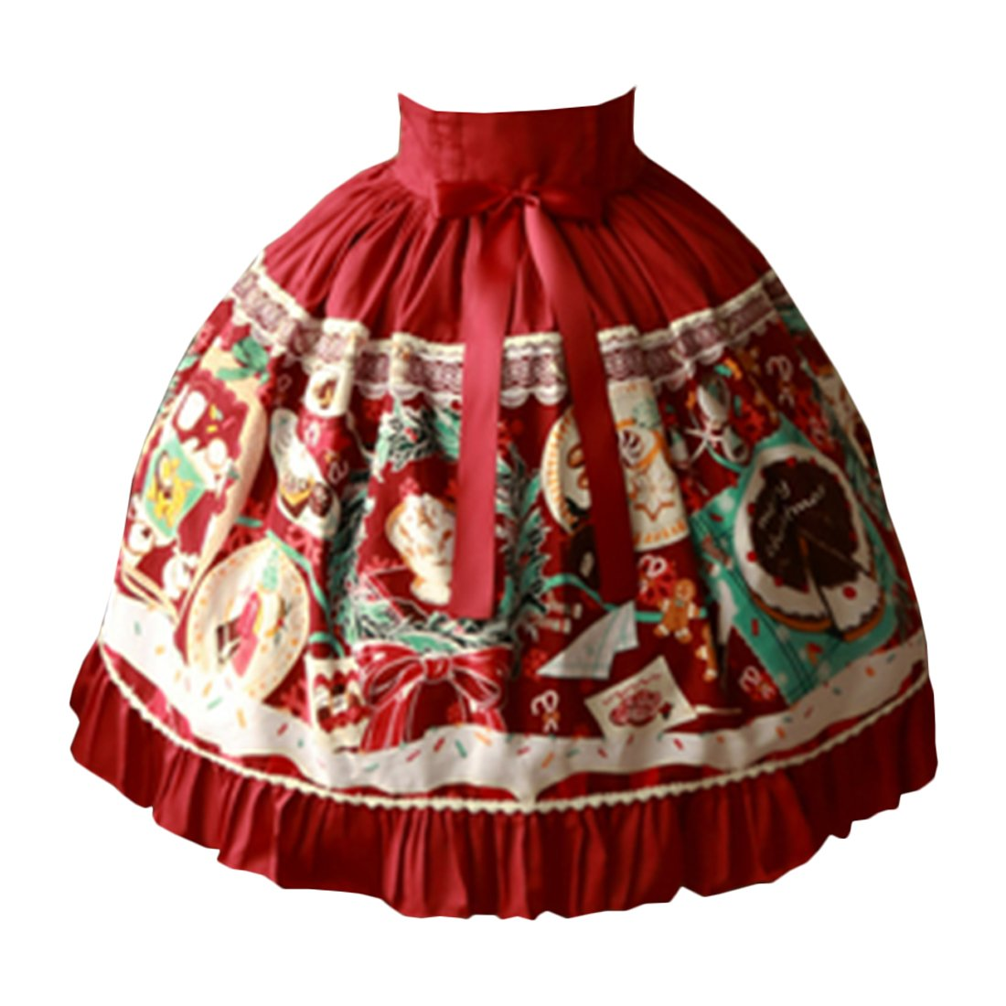 Partiss Womens Classic Sweet Sweet Christmas Printed Lolita Dress Bowknots Skirts, L, Burgundy