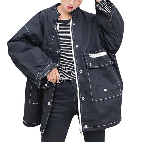 Mujer Chaqueta de Mezclilla Denim Jacket Suelto Chaqueta Oversized Abrigo Jeans Larga Cazadora