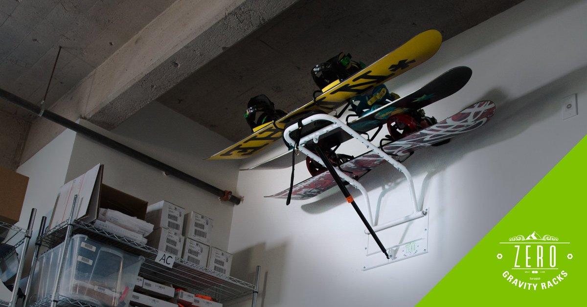 Snow Board Storage Rack by Zero Gravity Racks - Home or Garage Wall Mounted Snowboard Storage - Patented Snowboard Hanger Gas Strut Lift System (powder coat finish)