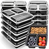 Meal Prep Containers 3 Compartment - Food Storage Container Set with Lids [Comparable to Tupperware ] - Thick BPA-Free Reusable Bento Lunch Boxes for Portion Control 21 Day Fix [15-Pack]