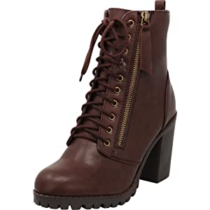 01563978704732 Cambridge Select Women s Closed Round Toe Lace-Up Chunky Heel Moto Combat  Boot