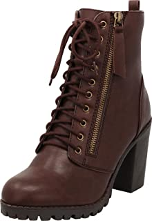 c611c64db6b2 Cambridge Select Women s Closed Round Toe Lace-Up Chunky Heel Moto Combat  Boot