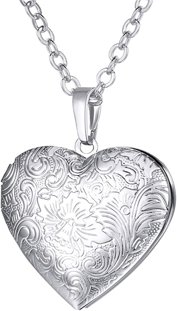 """U7 Locket Necklace with Rolo Chain 22"""" Flower Engraved Heart Shaped Pendant Girls Women Valentines Jewelry - Gift Packing"""