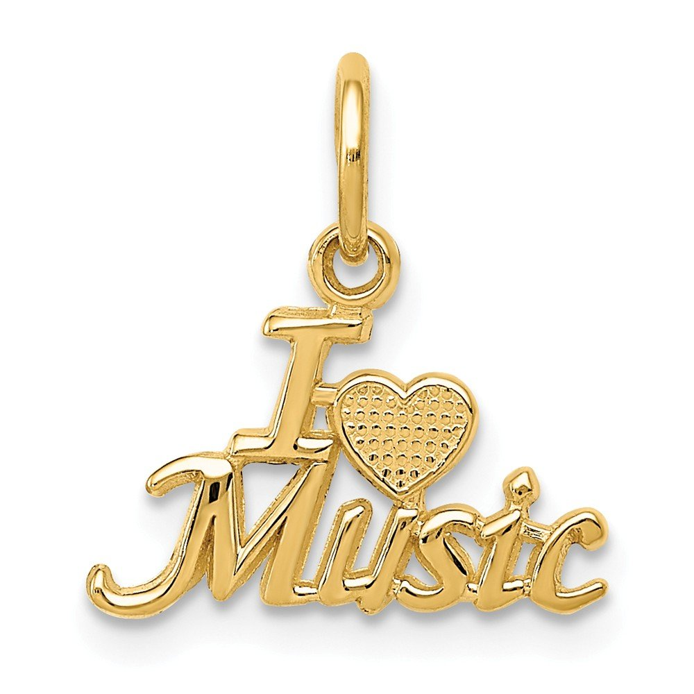 14K Yellow Gold I Love Music Charm