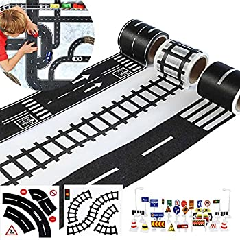 """Play Road Tape for Toy Cars & Trains 3 Rolls 1.9""""X16.4' Straight Curve Track Traffic Signs – Kids Gifts"""