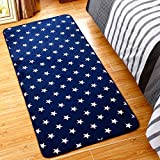 "Ukeler Super Soft Navy Blue Memory Foam Area Rug for Bedroom Bedside Abstract Water and Oil Kitchen Rug and Carpet, 31.5""x74.8"", Star"