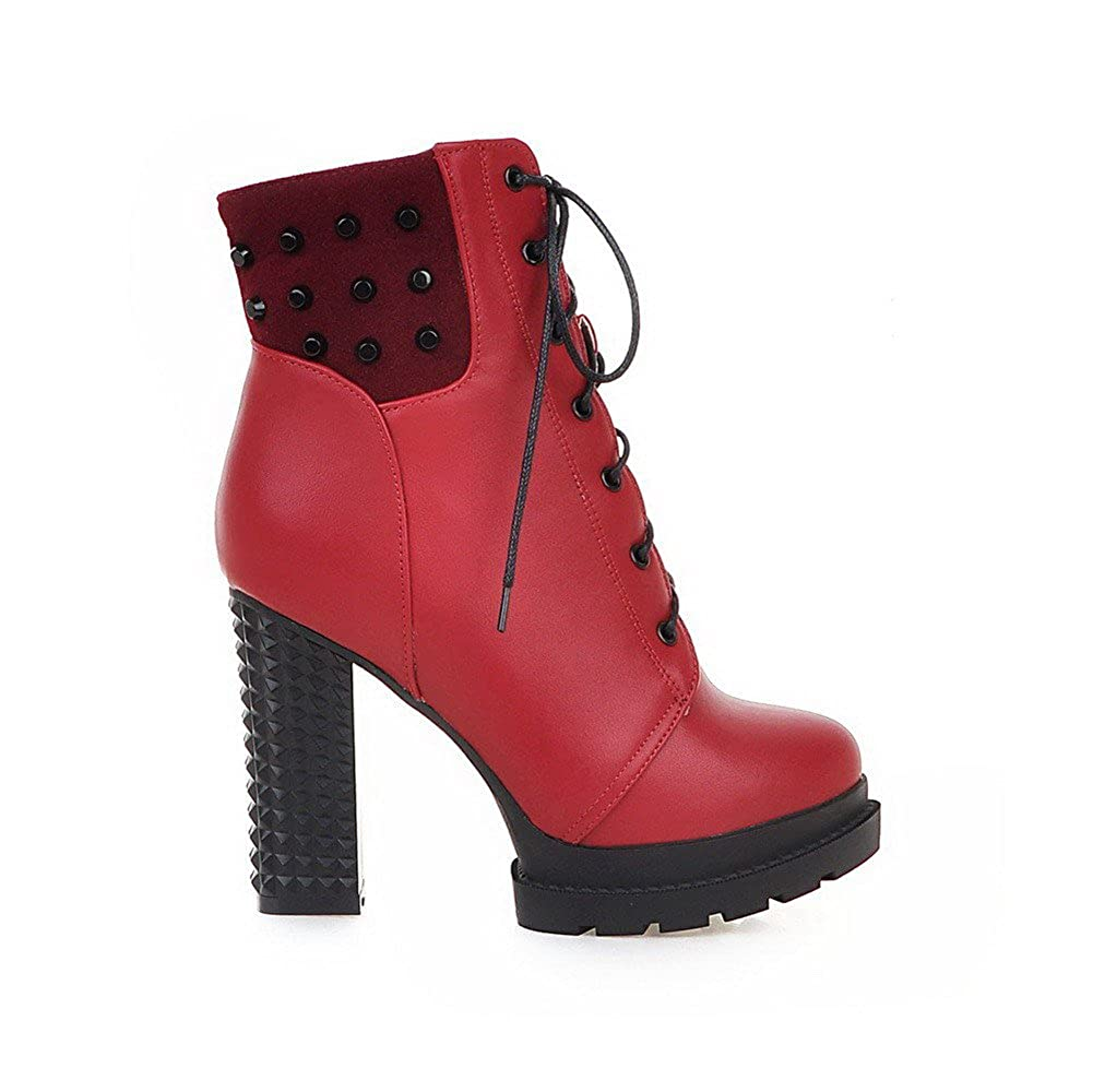 AgooLar Womens Pu Low Heels Round Closed Toe Solid Lace Up Boots