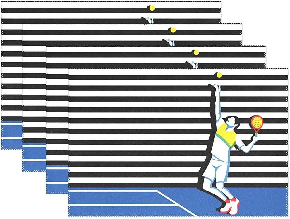 Saudade House Placemat Juego De 6 Alfombrillas De Pádel para Jóvenes Jugadores De Tenis,Mantel Individual, 12''X18'',Poliéster Antideslizante,Mantel Antideslizante,Juego De 6