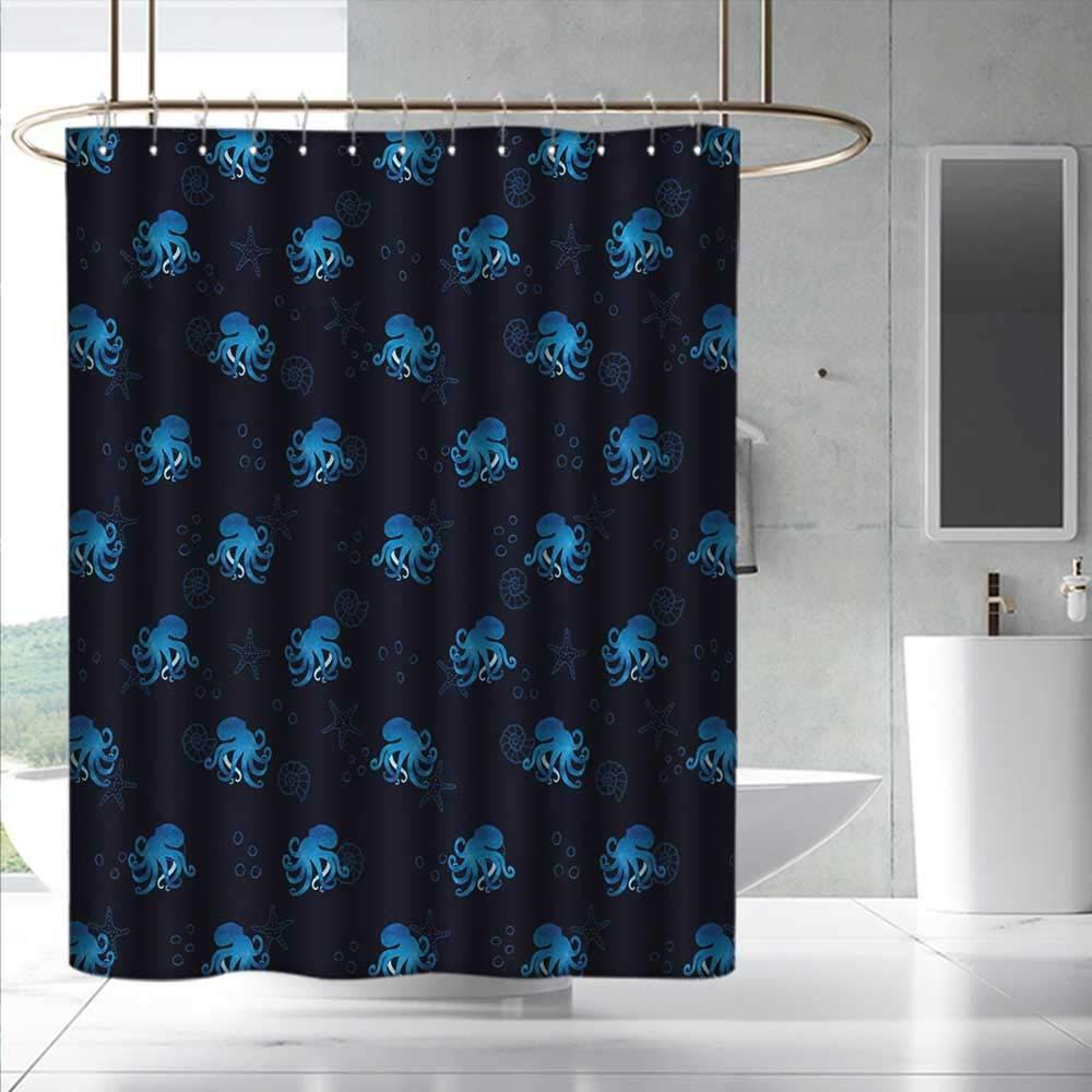 Fakgod Octopus Shower Curtain&Metal Hooks Watercolor Ocean Inhabitants Marine Inspired Illustration Abstract Silhouettes for Master, Kid's, Guest Bathroom W108 x L72 Blue Dark Blue