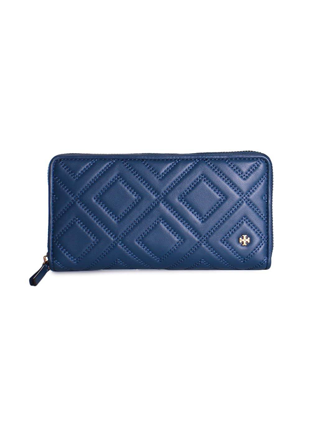 17eb398432348 Tory Burch Fleming Quilted Leather Zip Continental Wallet in Symphony Blue  at Amazon Women s Clothing store