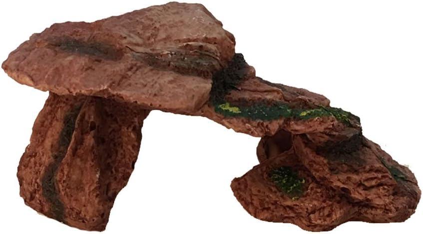 Emours Reptile Cave Habitat Decor Turtle Bearded Dragon Geckos Basking Platform Resin Ramp Hide Out Aquarium,Medium