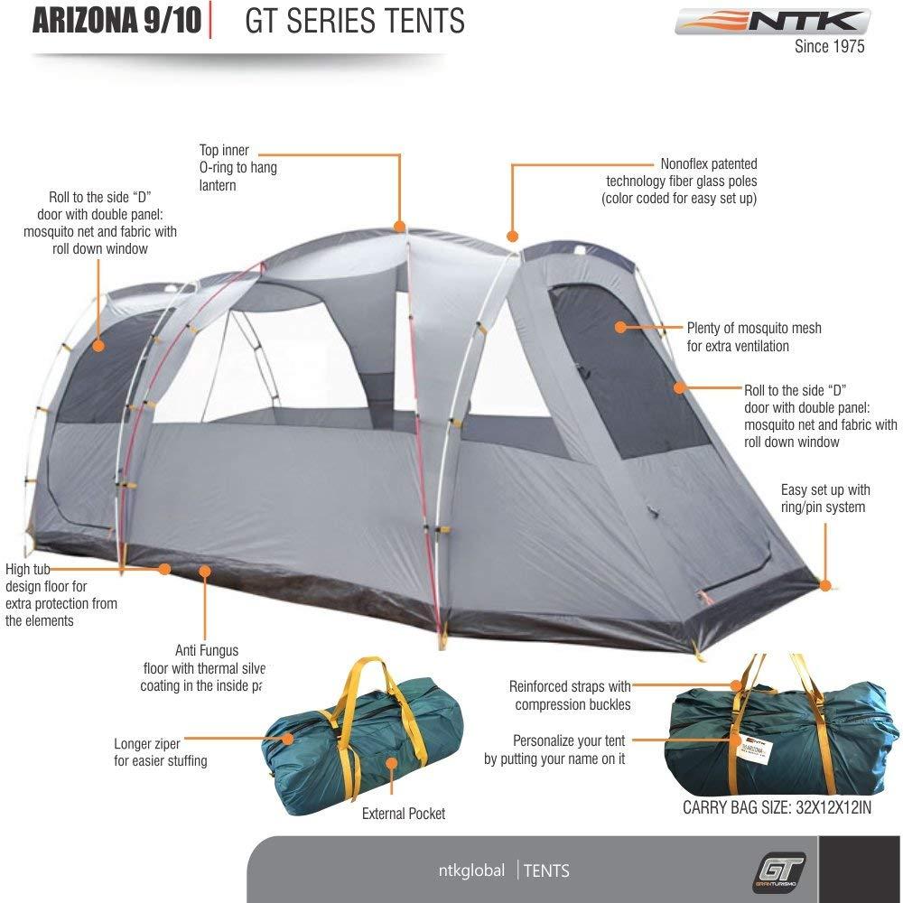 NTK Tienda de Campaña Resistente 100% Impermeable para 9 a 10 Personas (2 Habitaciones) Acampada al Aire Libre y Senderismo Tamaño Familiar 530 x 245 x 205 ...