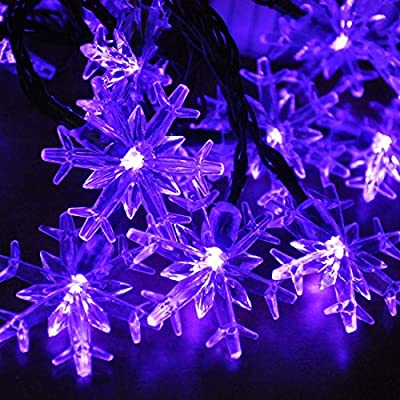 Solar String Lights, Satu Brown 21ft 30LED Outdoor Decorative Lights Waterproof Fairy Snowflake Lighting for Garden, Patio, Yard, Home, Christmas Tree, Parties