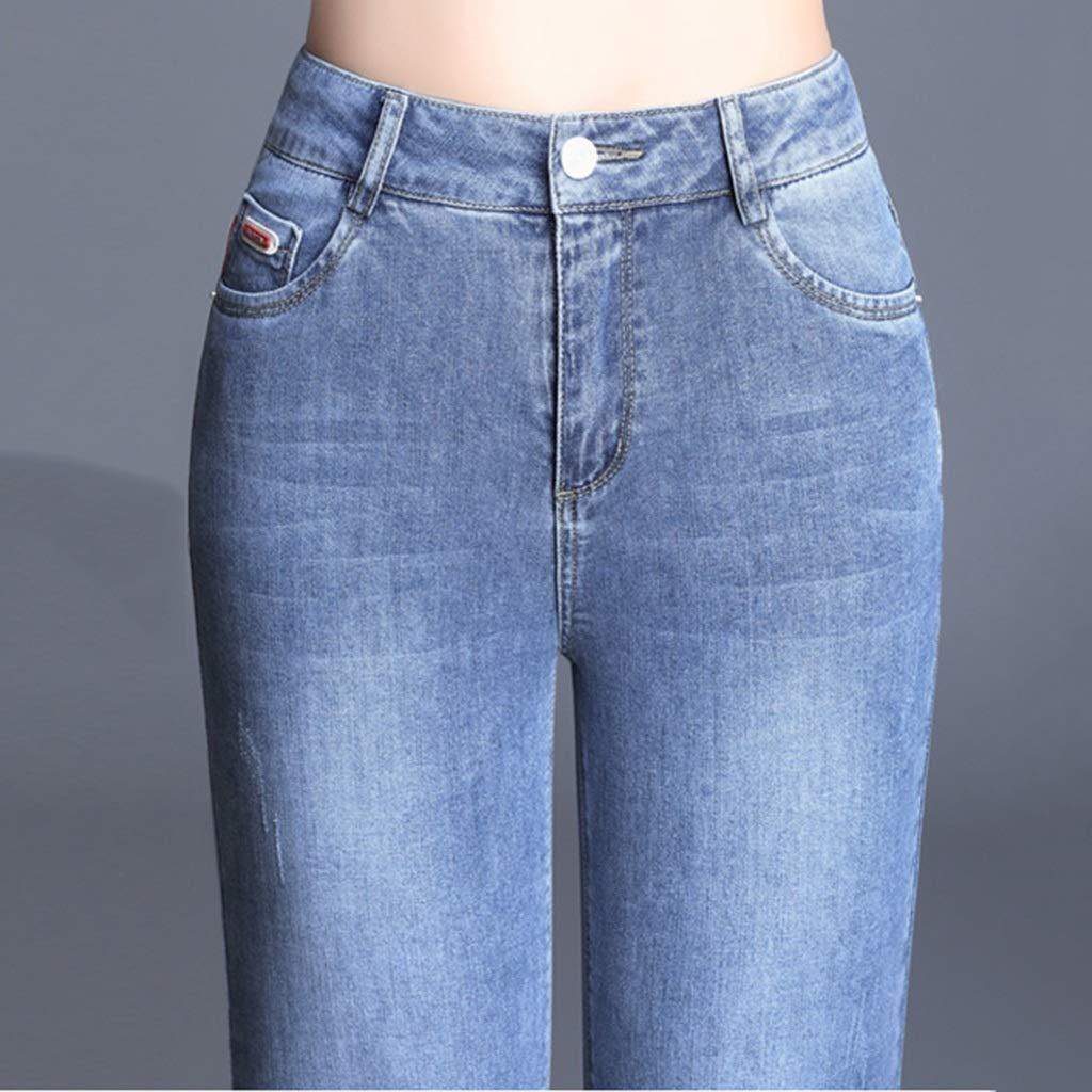 Zhounan Pantalones Vaqueros elásticos Pantalones Rectos de ...