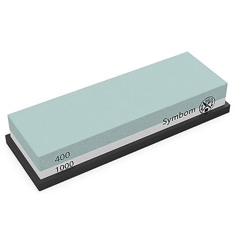 Piedra de afilar, Symbom Piedra de afilar 400/1000 grano 2 en 1 Afilador de cuchillos Waterstone con base de silicona