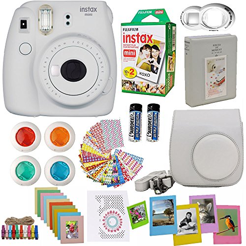 Fujifilm Instax Mini 9 Instant Camera Smokey White + Fuji Instax Film Twin Pack (20PK) + Camera Case + Frames + Photo Album + 4 Color Filters And More Top Accessories Bundle by Abesons