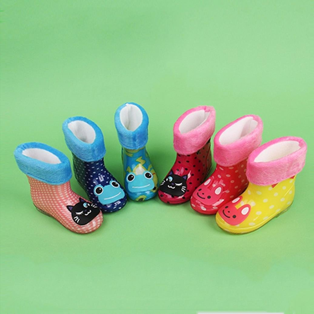 Dark Blue, Age:2.5-3years Lanhui Waterproof Child Animal Rubber Infant Baby Rain Boots Kids Warm Shoes