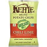 Kettle Brand Potato Chips, 100% Avocado Oil Chili Lime, 4.2 Ounce