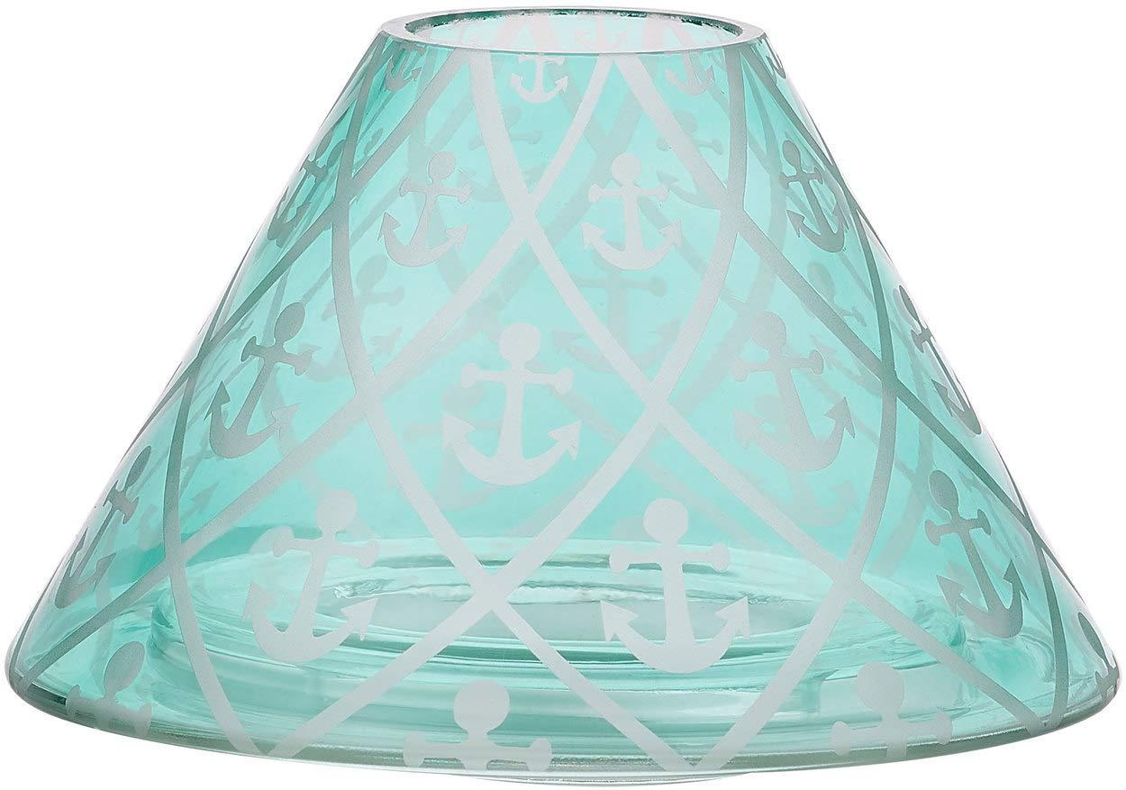 Pavilion - Aqua Anchor Patterned Beach House Large Crackled Glass Jar Candle Shade