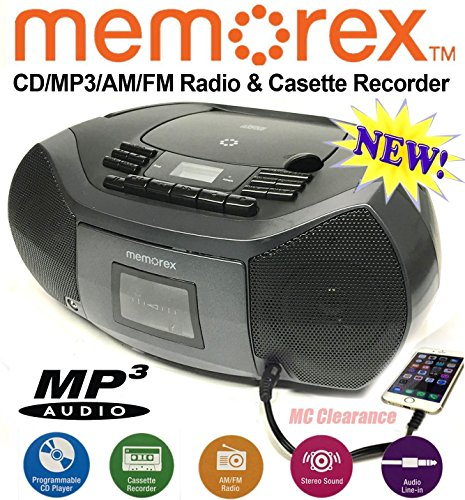 Memorex CD/Cassette Recorder MP3 AM/FM FlexBeats Boombox MP3261 with Aux line in jack - Black (Mp3 Cd Recorder)