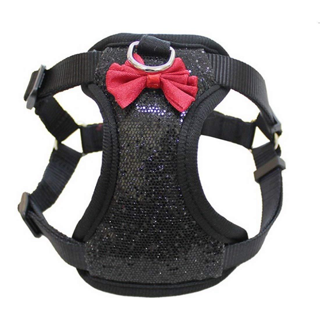 FERZA petsuppliesmisc Dog Chest Strap Dog Vest Pet Leash Rope Explosion-proof Pet Dog Chain Pet Chain (color   BLACK, Size   S)