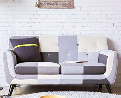 Amazon.com: Modern Design Checkered Tufted Fabric Sofa ...