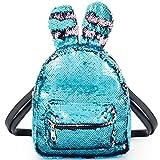 Women Girls Fashion Cute Rabbit Ears Backpack Sequins Shoulder Bag Schoolbag Travel Daypack (Blue & Champagne)