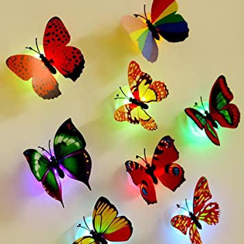 Amazon.com: 10 Pcs Glow in the Dark LED Butterflies Wall Stickers ...