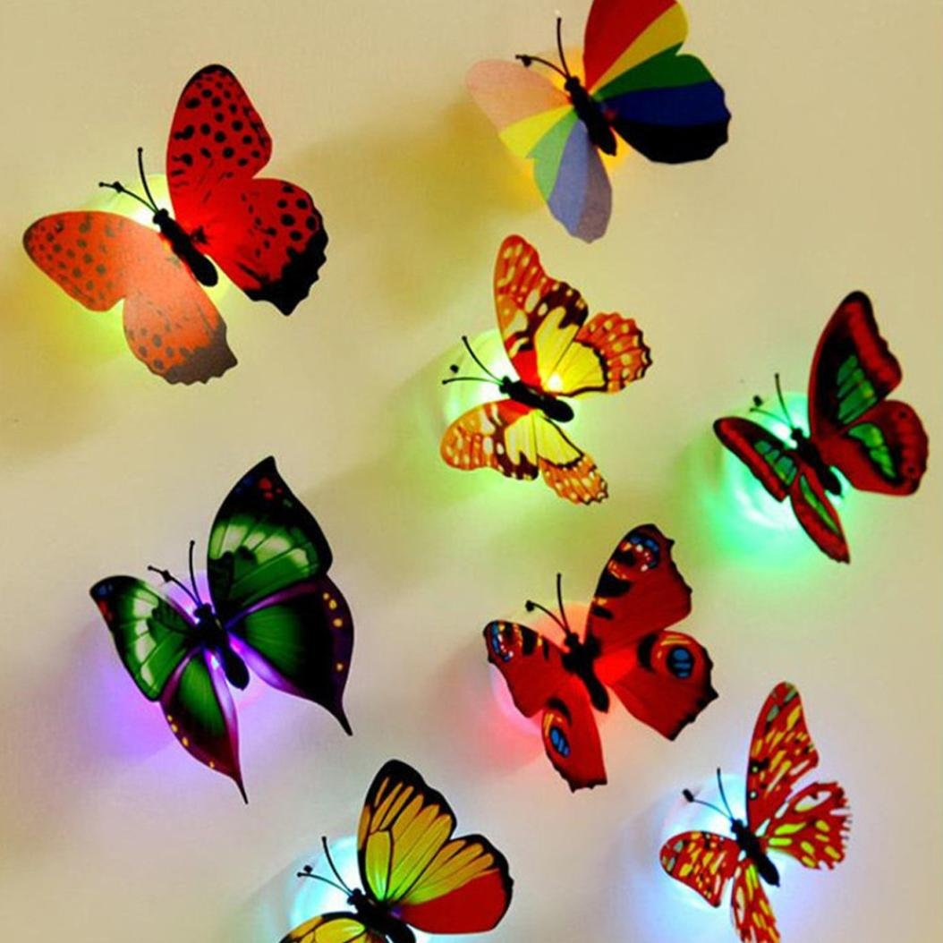 10 Pcs Glow in the Dark LED Butterflies Wall Stickers for Party Wedding,SMYTShop Light Up Butterfly for Kids Room Nursery Wall Decoration,Cool Party Supplies,Random Color