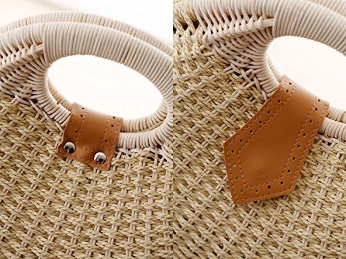 woven Women Straw Hand Clutch Mogor Bags Purple Shell fEq64