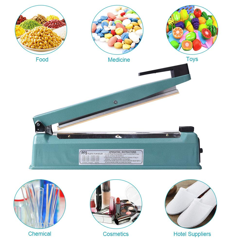16 inch Impulse Bag Sealer w//Adjustable Timer Heat Seal Closer Poly Bag Sealing Machine 2 Replacement Kit 50Pcs 4X6 Inch Shrink Wrap Bag