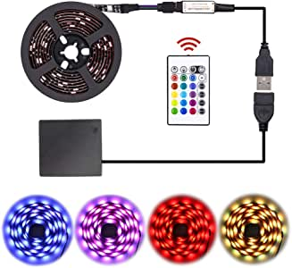 LED Strip Lights Battery Powered,USB Operated 2 in 1,party waterproof RGB Led Lights Strip, Flexible Led Strip Rope Lights with RF, Color Changing Lights for TV Backlight (RGB 24keys-2M/6.6FT) by XYOP