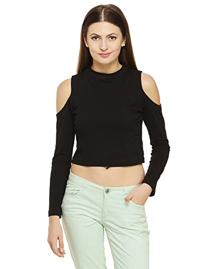 96d7a7157450f Rigo Women s Cotton Cold Shoulder Crop Top  Amazon.in  Clothing ...