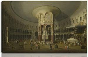 Berkin Arts Canaletto Stretched Giclee Print On Canvas-Famous Paintings Fine Art Poster Reproduction Wall Decor-Ready to Hang(London Interior of The Rotunda at Ranelagh)#NK
