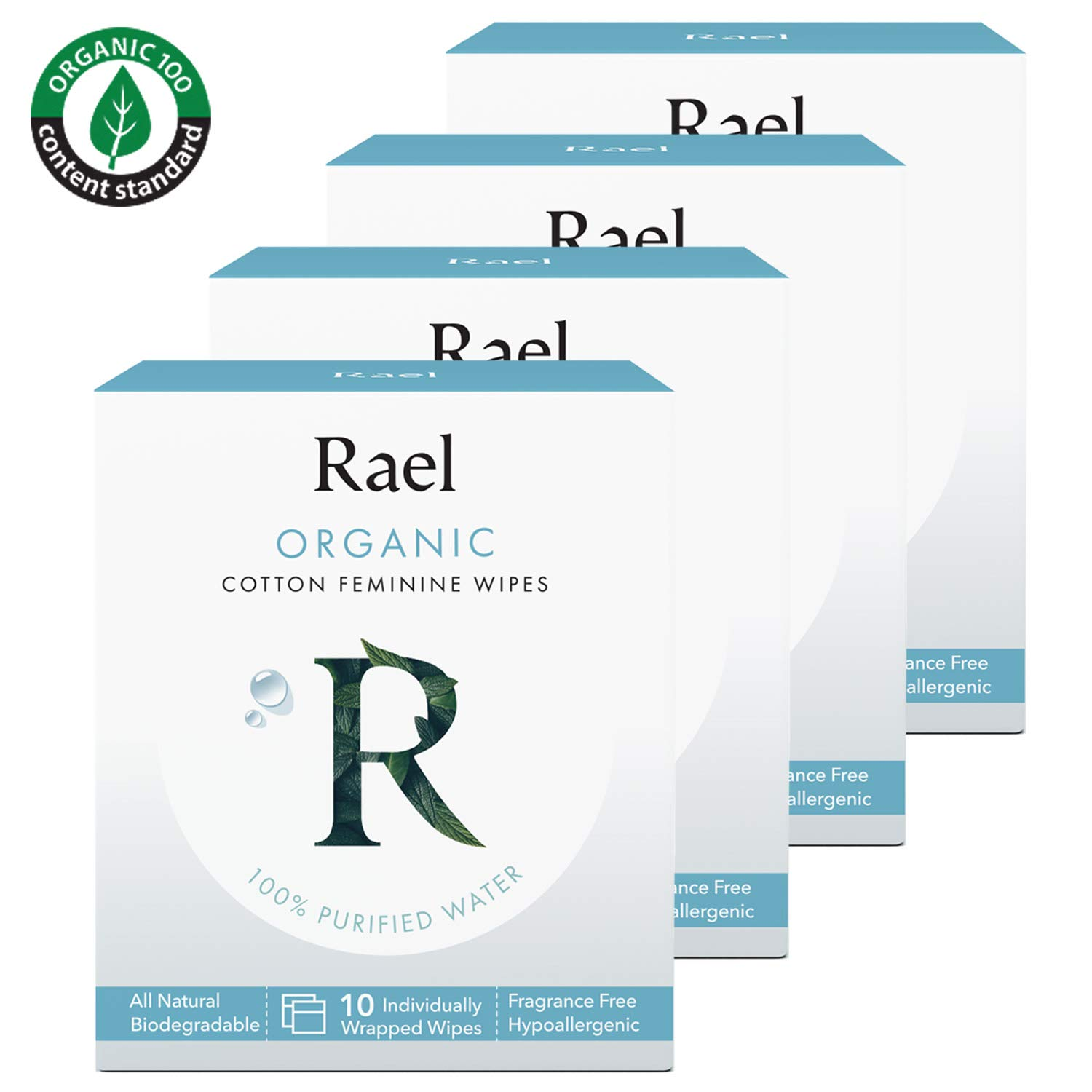 Rael Organic Cotton Feminine Wipes - 100% Purified Water, OCS certified organic cotton, biodegradable, ideal for sensitive skin, individually wrapped, (4Pack, 40 Count)