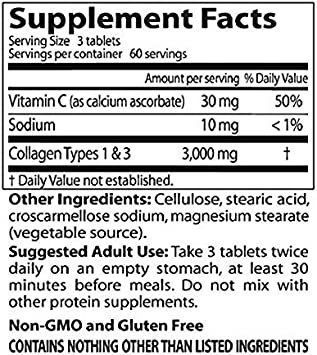 Pastillas De Colageno Hidrolizado Con Vitamina C - 180 Capsulas De Colageno Natural Para La Cara Y Piel - Ayuda a Eliminar El Dolor De Articulaciones ...