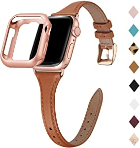 Bestig Leather Band Compatible for Apple Watch 38mm 40mm 42mm 44mm, Slim Thin Genuine Leather Replacement Strap for iWatch Series 6 SE 5 4 3 2 1 (Brown Band+Rose Gold Adapter, 38mm 40mm)