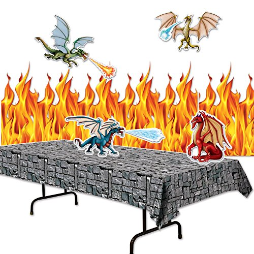 FAKKOS Design Dragon Party Supplies Decor Set - Flame Backdrop, Stone Table Cover, Dragon Cutouts (Dragon Decoration)