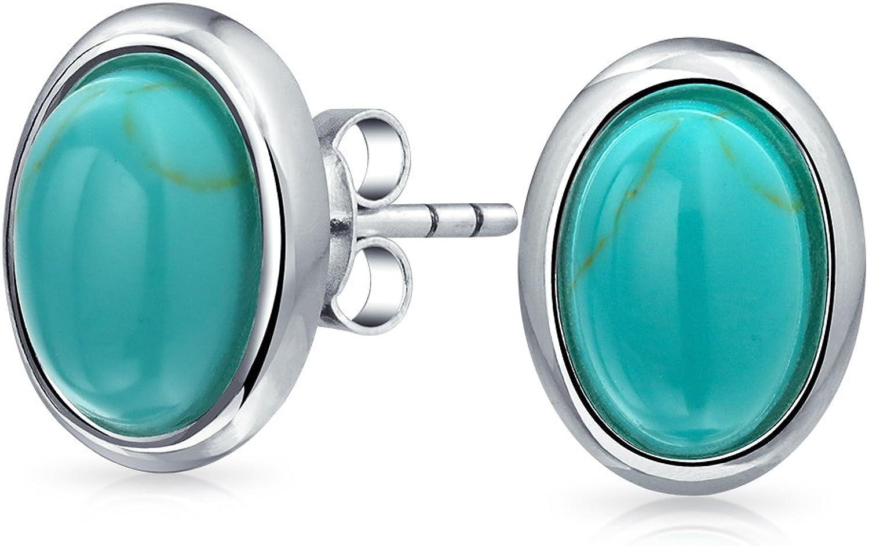Conjunto De Bisel Simple Óvalo Azul Turquesa Comprimido Pendiente De Boton Juego Para La Mujer 925 Plata De Ley 925