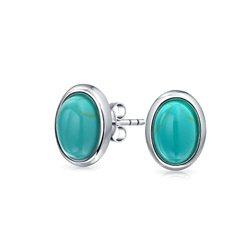 627baab5f Amazon.com: Simple Bezel Set Oval Blue Compressed Turquoise Gemstone Stud  Earrings For Women 925 Sterling Silver: Jewelry