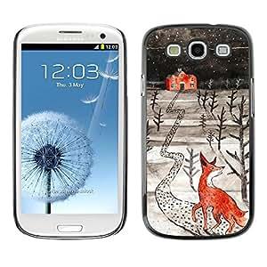 TopCaseStore / la caja del caucho duro de la cubierta de protección de la piel - Art Winter Home Kids Drawing - Samsung Galaxy S3 I9300