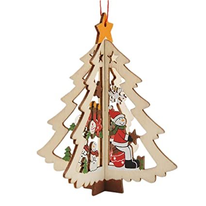 amosfun 3d delicate wooden five pointed star christmas tree pendant decoration ornaments for festival party