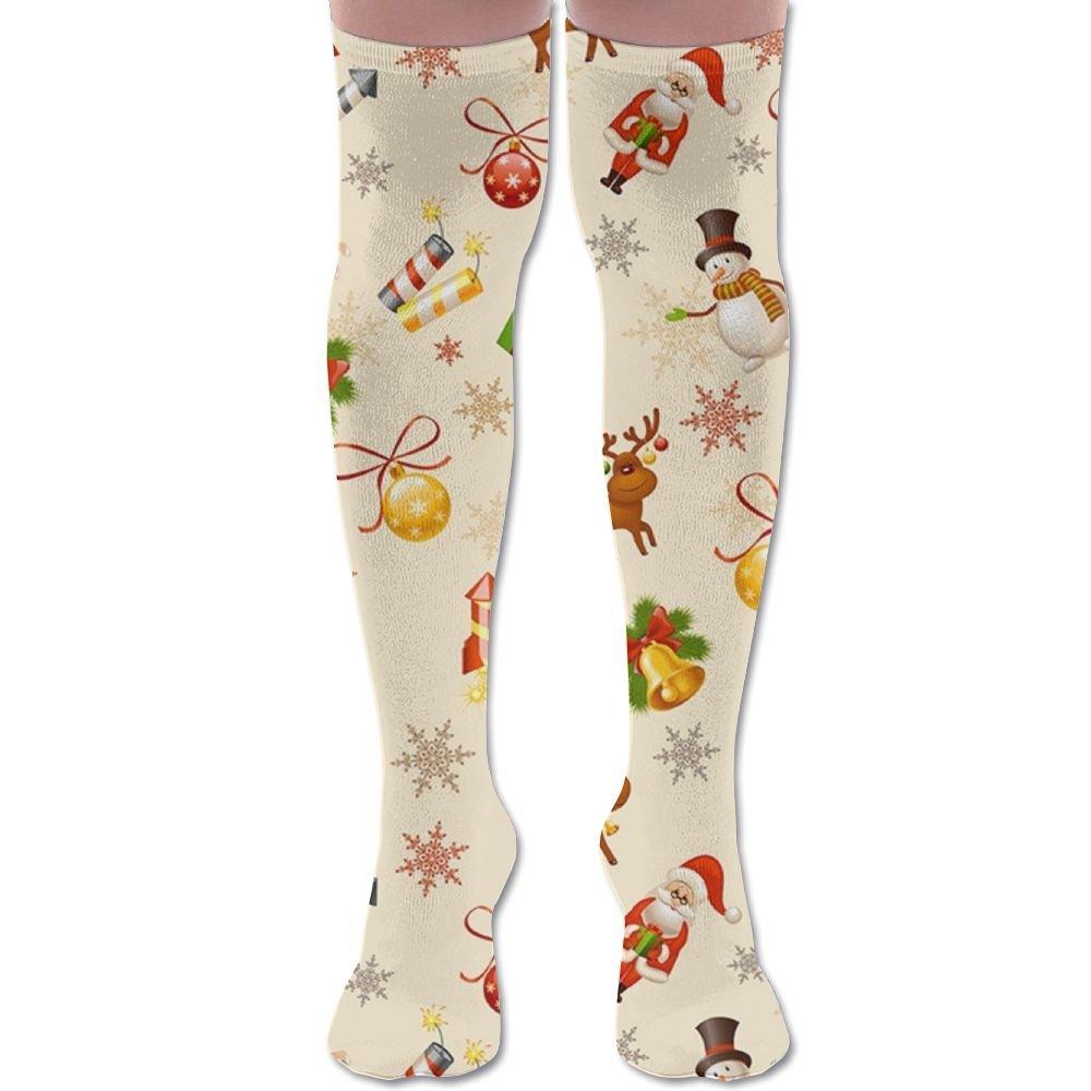 Womens Kawaii Christmas Gift Snowman Reindeer Knee High Socks Girls