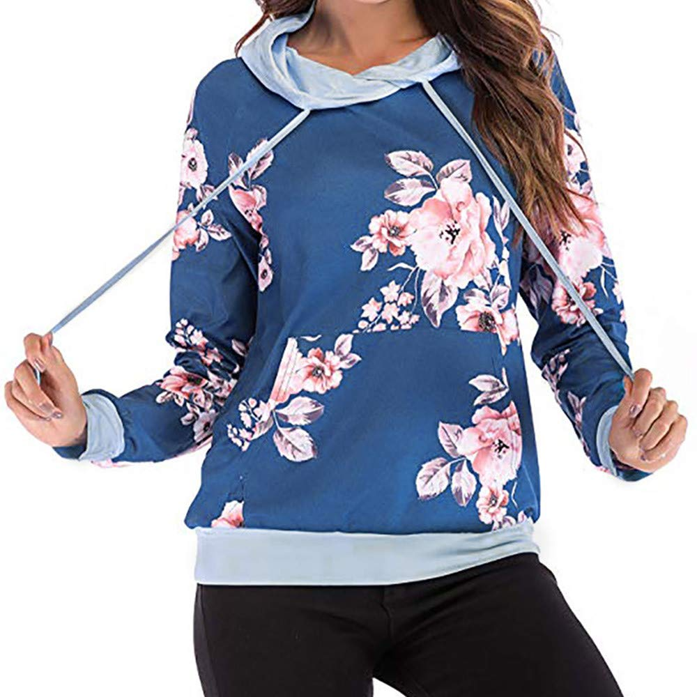 XOWRTE Women's Sweatshirt Floral Print Fall Winter Hoodie Pullover Tops Fashion 2018