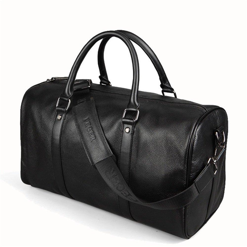 旅行バッグ シンプルでスタイリッシュなレザートラベルバッグメンズビジネスブリーフケース大容量断面レザーメッセンジャーバッグ荷物男性バックパック スポーツバッグ トラベルバッグ (色 : ブラック)  ブラック B07P9XP81X